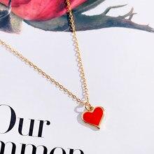 Moda coração vermelho colar de ouro longo corrente gargantilha cobre charme lua gargantilha festa colares presente jóias para mulher