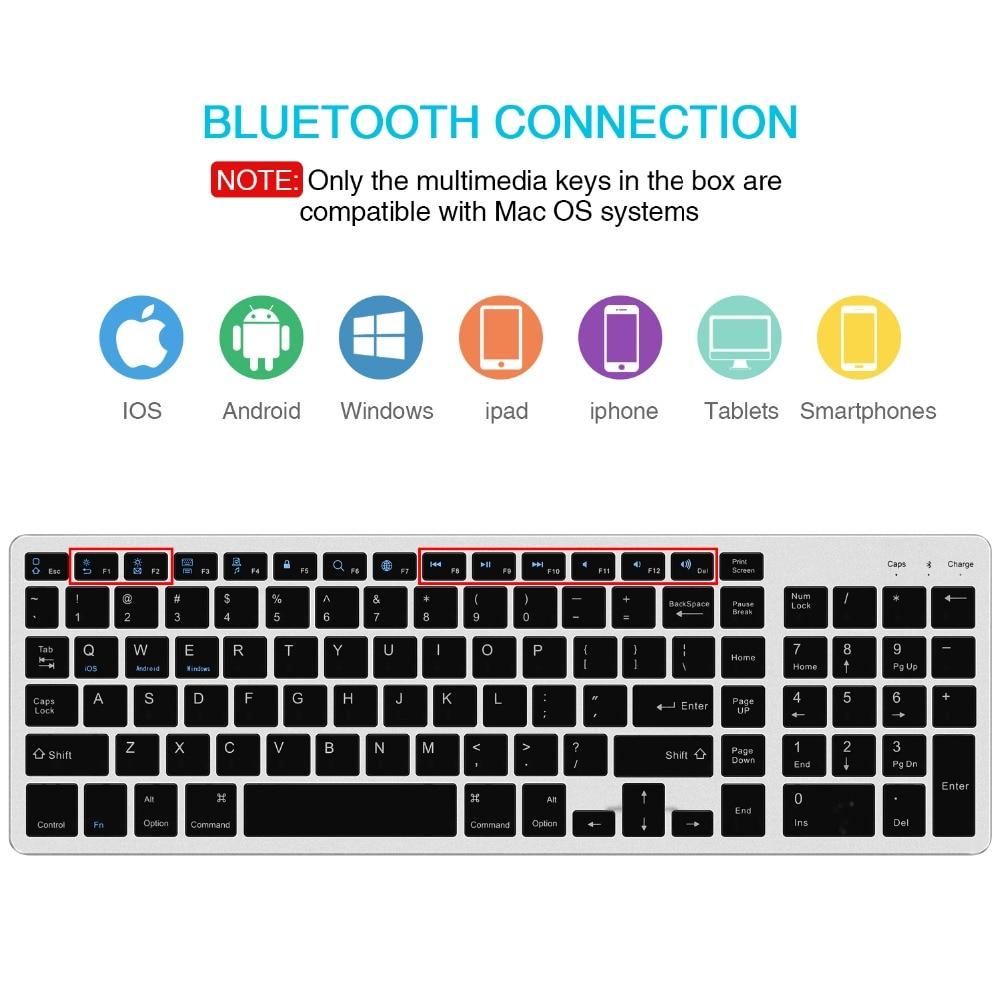 Teclado sem fio padrão de zienstar bluetooth para ipad