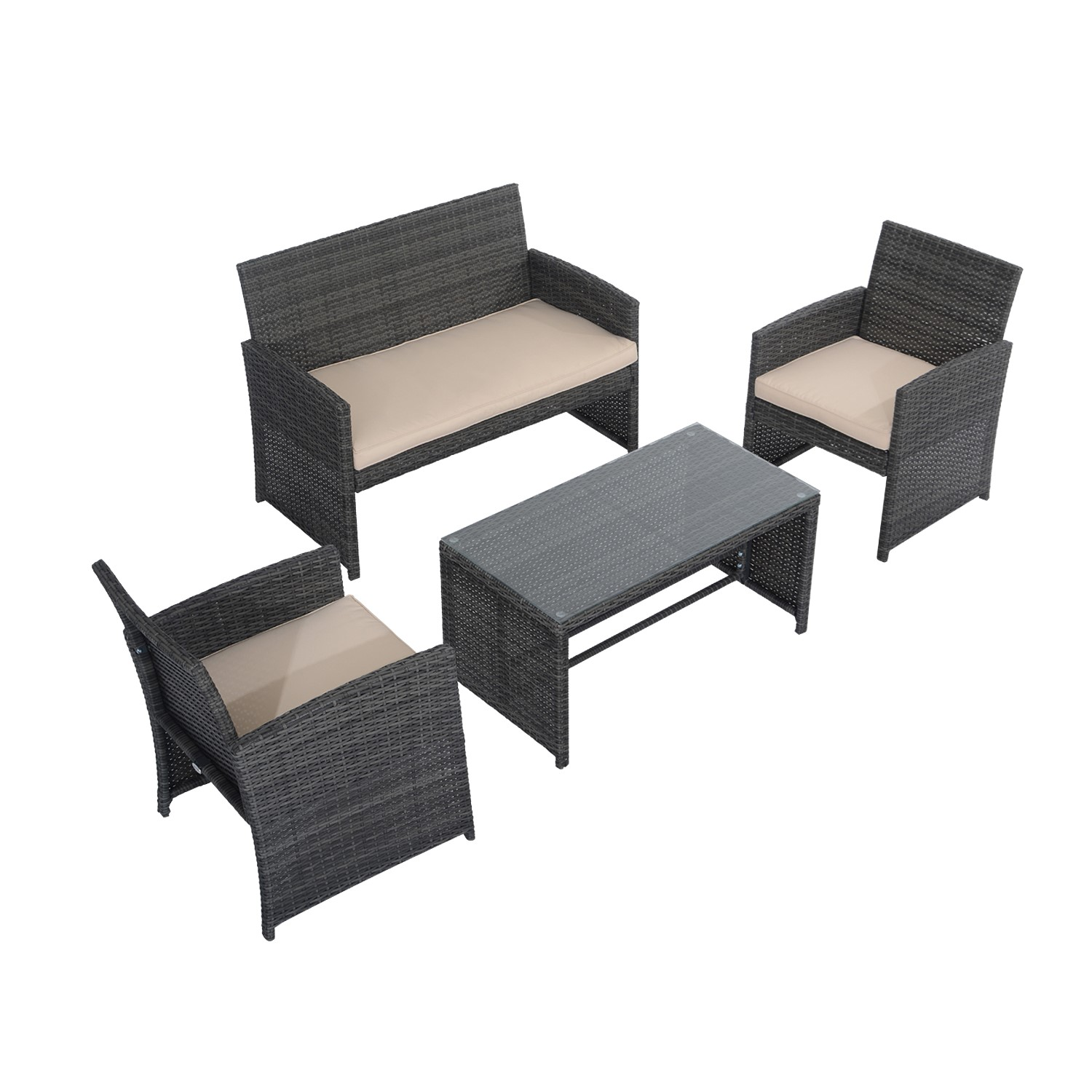 Outsunny Set 4 PCs Loveseat 2 Armchairs Coffee Table Metal Garden Furniture, Rattan 108.5x61.5x76.5 Cm