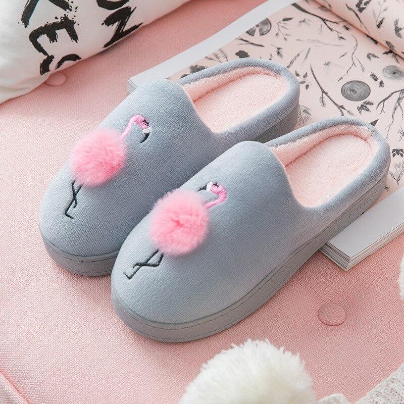 Women's Winter Shoes Plus Size 43-45 Flock Flamingo Pattern Non Slip Home Slippers Women Rubber Plush Warm Slippers Woman