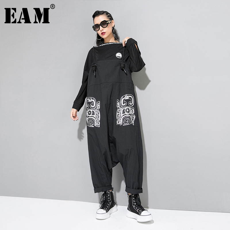 [EAM] High Waist Pattern Printed Overalls New Loose Fit Big Size Bandage Pants Women Fashion Tide Spring Autumn 2019 JZ184