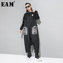 [EAM] High Waist Pattern Printed Overalls New Loose Fit Big Size Bandage Pants Women Fashion Tide Spring Autumn 2019 JZ184(China)