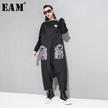 [EAM] mono estampado con patrón de cintura alta nuevo ajuste suelto pantalones de vendaje tamaño grande mujeres moda marea primavera otoño 2019 JZ184