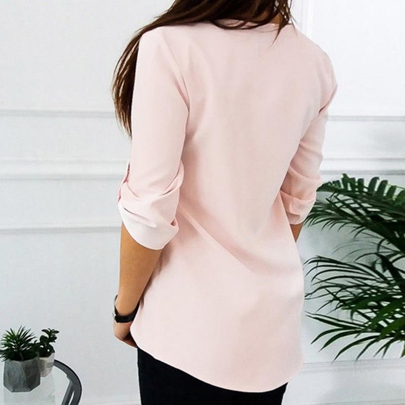 JODIMITTY Zipper Short Sleeve Women Shirts Sexy V Neck Blouse Women Women's Blouses Women's Clothings