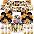 1 комплект удзумаки Наруто, воздушные шары Uchiha Sasuke, баннер на день рождения, украшение для торта, детский праздник в стиле аниме