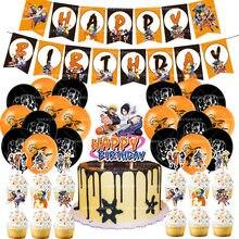 1 conjunto uzumaki naruto balões uchiha sasuke balão feliz aniversário banner bolo topper chuveiro do bebê anime festa decoração crianças brinquedo