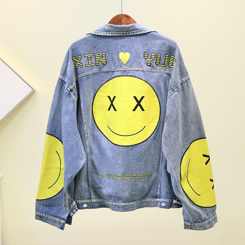 Automne veste 2019 hip-hop Smiley Face Denim veste femmes lâche grande taille lavé Jeans manteau Outwear filles étudiants Cowboy haut