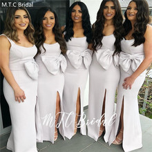 Long White Bridesmaid Dresses With Bow 2020 Wholesale Side S