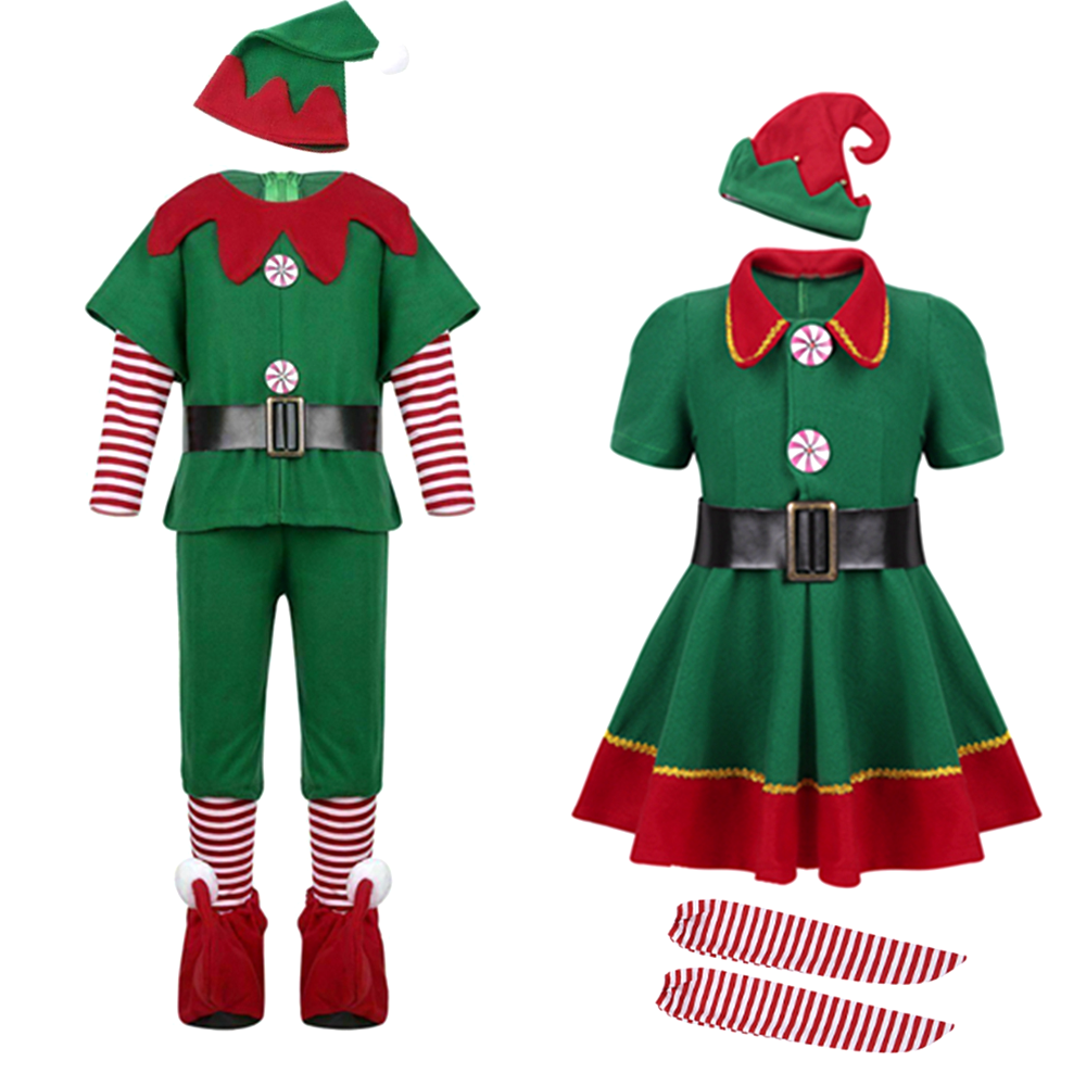 Christmas Santa Claus Costume Green Elf Cosplay Family Carnival Party New Year Fancy Dress Clothes Set For Men Women Girls Boys