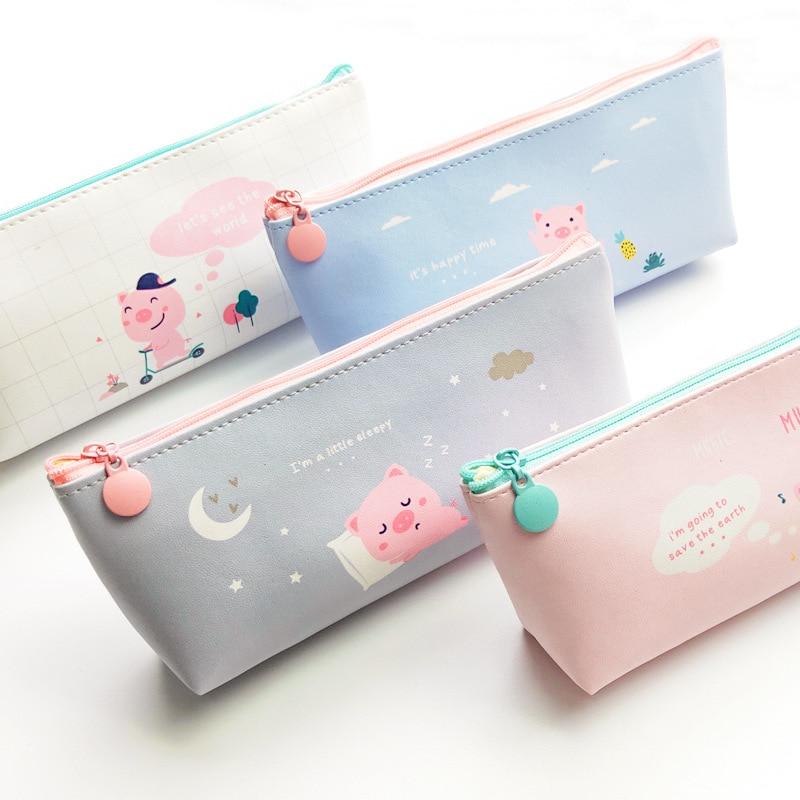 Cartoon Pig Pencil Case For Girls Cute Creative PU Pencil Bag Box Waterproof Stationery Pouch Gift School Supplies Zakka Escolar
