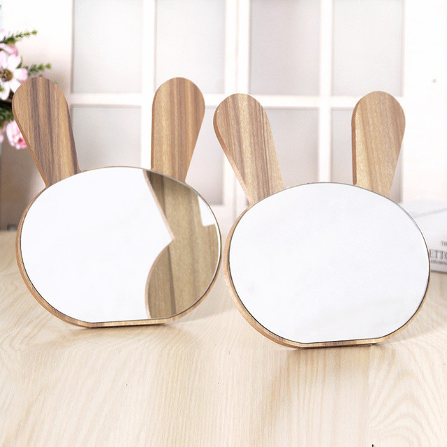 Cute Round Mirror Wooden Stand Makeup Mirror Dressing Decorative Mirrors Home Decor Bathroom Supplies Table Mirror Folding 2