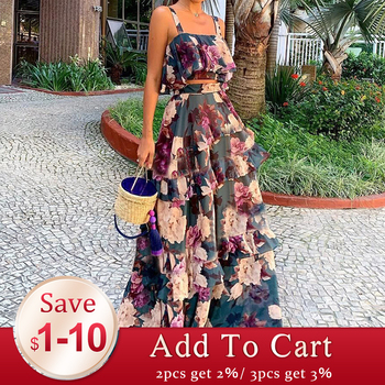 Two Piece Sets Summer Sleeve Crop Top and Ruffles Layered Dress Retro Floral Printed Women Sets Boho Maxi Causal Suits Purple pearl detail layered frill sleeve top
