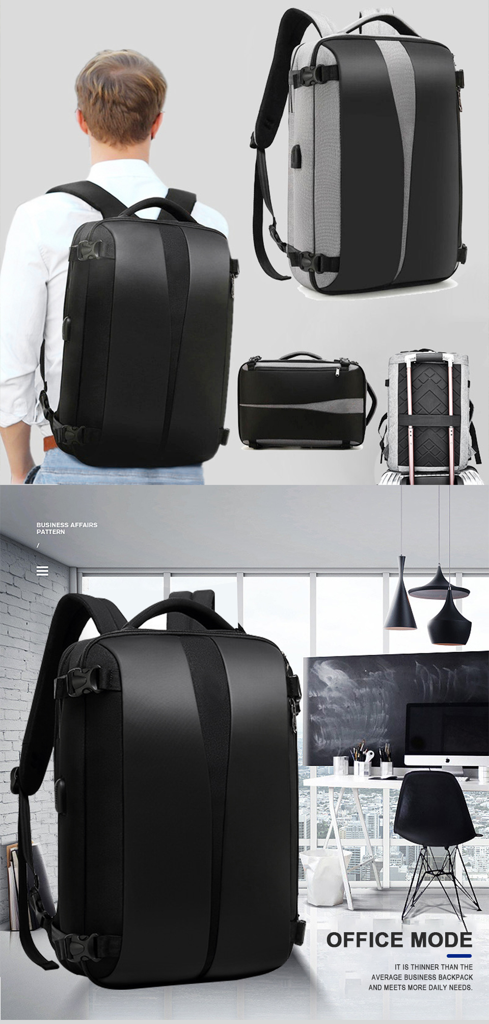 Men Backpack Anti Theft Travel Bagpack Laptop 15.6 Inch Notebook Waterproof Bags USB Charging Male Business Fashion Unisex Bag (2)