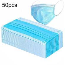 50 pièces jetables 3 couches Non tissé bouche masque facial prévenir Anti poussière bactéries visage bouche masques