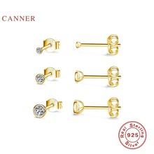 CANNER 3 – Mini boucles d'oreilles en argent Sterling pièce/ensemble et diamant pour femme, bijoux fins, Piercing, Joyero, 925