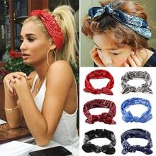 New Korea Fashion Women Bohemian Hair Bands Print Headbands Retro Cross Hair Band Headwrap Bandage Hair Accessories