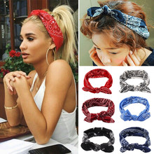 Nowe koreańskie mody kobiet czeski opaski do włosów drukuj opaski Retro opaska do włosów Headwrap bandaż akcesoria do włosów