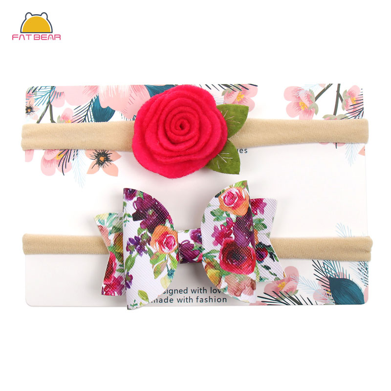 2Pcs/Set Printed Baby Headbands For Girls Lace Flower Soft  Hairbows Elastic Nylon Hair Bands Headband Newborn Hair Accessories