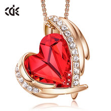 CDE Women Gold Necklace Pendant Embellished With Crystals Red Heart Necklace Rose Gold Jewelry Valentines Gift(China)