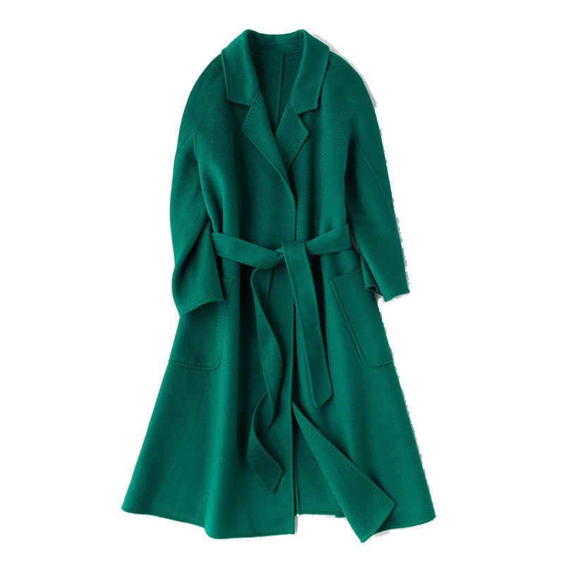 Kış Kore Popüler High-end Su Oluklu Yün Palto 2019 Moda Uzun Bornoz Tarzı % 100% Yün Ceket Ceket Kadınlar
