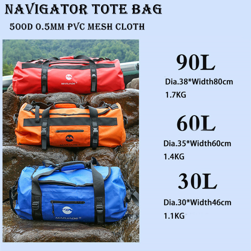 30L 60L 90L Large Capacity Upstream Waterproof Bag Outdoor Swim Camping Water River Navigator Sailing Fishing Dry Storage Roof