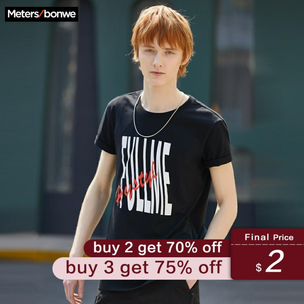 Metersbonwe Men's T-shirt For Male Solid Color Summer Letter Printing Trend T-Shirt Casual Striped Short Sleeve футболка мужская
