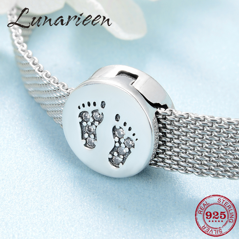 Fashion 925 Sterling Silver Lovely Baby's Footprints Clear CZ Charms Clip Beads Fit Reflection Charms Bracelet For Women Jewelry
