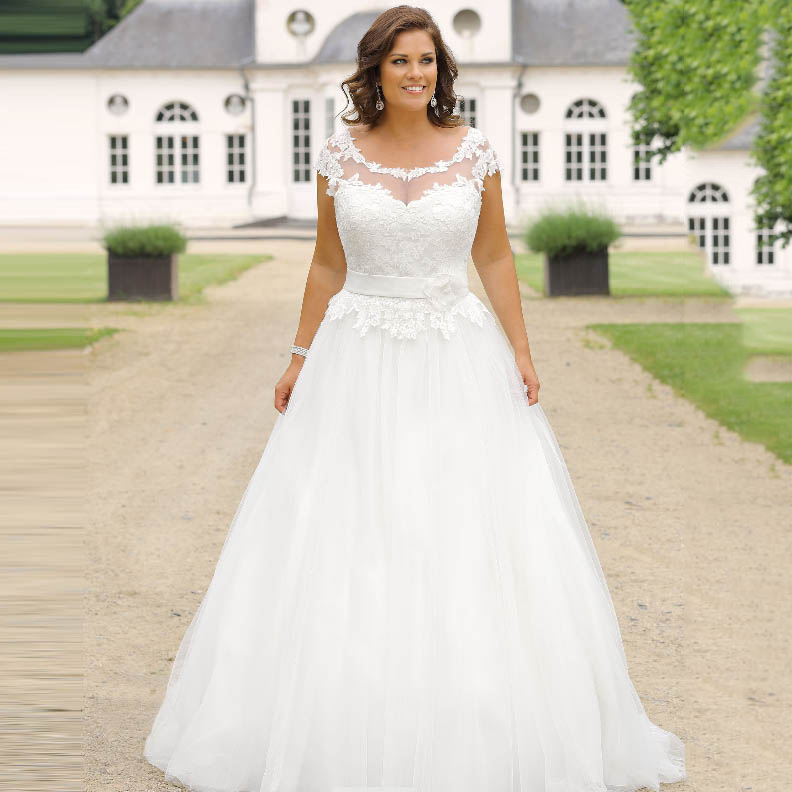 Plus Size Wedding Dress For Women Sheer Neck Cap Sleeve Appliques Lace Top Bride Dress Vestido De Noiva 2019