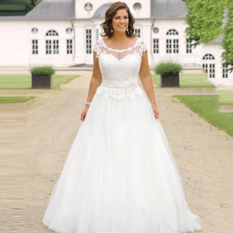Plus Size Wedding Dress For Women Sheer Neck Cap Sleeve Appliques Lace Top Bride Dress Vestido De Noiva 2019