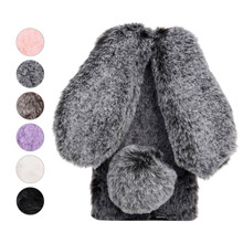 Luxury Plush Rabbit Fur Case For iPhone Xr X Xs Max Cute Shockproof Silicone Soft Phone Cover For iPhone 7 8 6S 6 Plus 5 5S SE цена