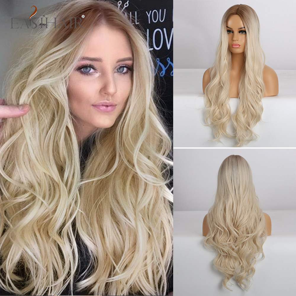 EASIHAIR Long Wavy Blonde Wigs Ombre Natural Hair Wigs Middle Part Heat Resistant Synthetic Wigs For Women Cosplay Party Wigs