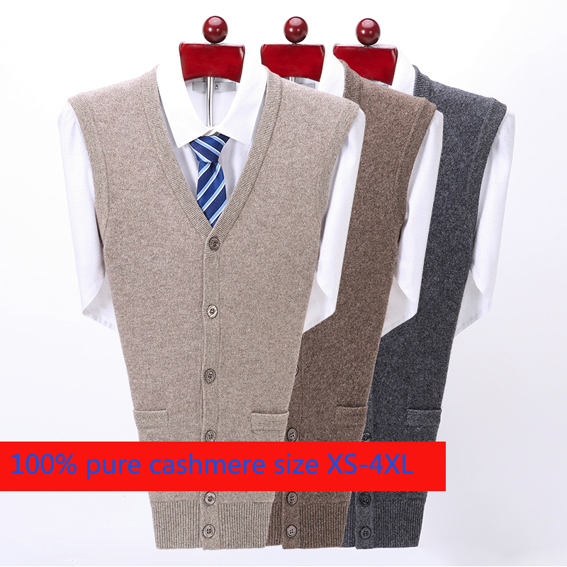 New High Quality Thickened Pure Cashmere Cardigan Waistcoat Men Loose Knitted Sweater Casual V-neck Sleeveless Plus Size S-5XL