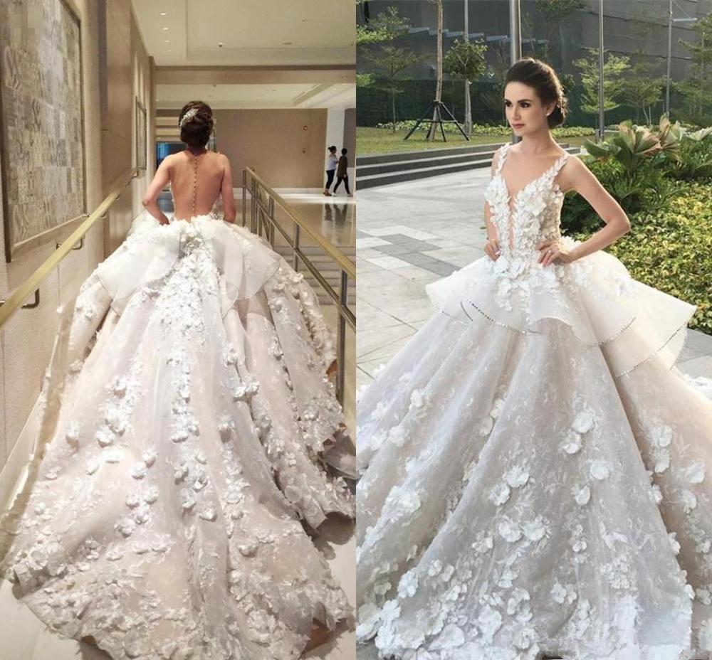 Hot Discount Vestido De Novia Luxurious Sexy Back Ball Gown Wedding Dresses Hand Made Flower Appliques Lace Ruffles Royal Train Wedding Gowns November 2020