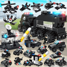 Police SWAT Station Building Blocks truck model City machine Helicopter Car Figures Bricks Educational Toy For Children Gifts bevle gudi 9316 city police series mobile police station model building blocks bricks model bricks gift for children city toys