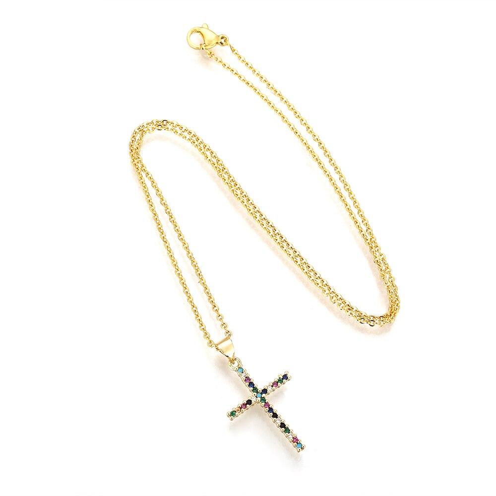 Ожерелье с надписью Be happy крест колье с подвеской в виде буквы в стиле «хип-хоп» медь ААА цирконием, 18K золото Регулируемая цепь ожерелье ювел...