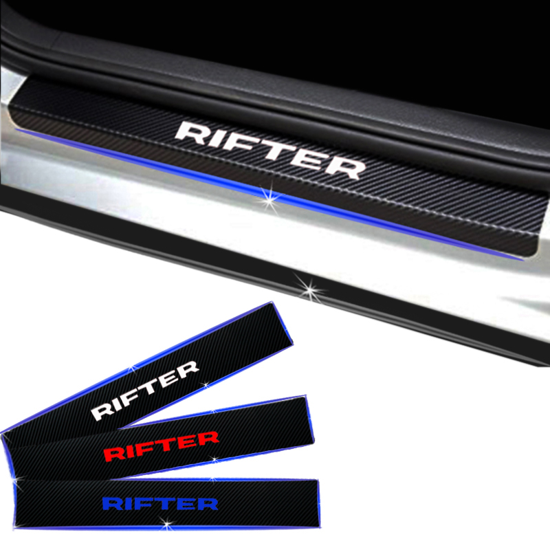 For Peugeot Rifter Carbon Fiber Vinyl Sticker Car Door Sill Protector Scuff Plate Car Styling Car Accessories 4pcs