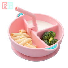 Baby Silicone Plate Divided Food Bowl with Straw Portable 3 Grid Silicone Feeding Dishes Toddler Infant Children's Tableware