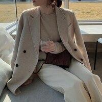 2019 Cashmere Coat Loose Women Small Short Wool coat Autumn Winter Korean Thick Plaid Wool jacket Female Outerwear abrigo mujer