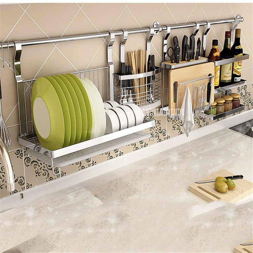 1256 Stainless Steel Kitchen Shelf Wall Mounted Spice Rack Chopstick Holder Dish Drainer Knife Rack Combination Organizer