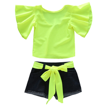 1-6T Toddler Kid Baby Girl Open U-Back Flare Short Sleeve T-Shirt Top and Denim Shorts Jeans Outfits with Self-Tie Waistbands