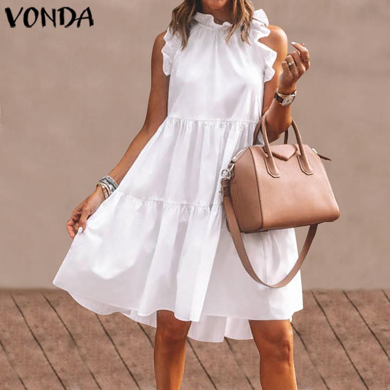 Summer Short Dress Women Sexy Sleeveless Ruffled Dress Beach Holiday Sundress 2021 VONDA Bohemian Vestidos Plus Size Robe Femme