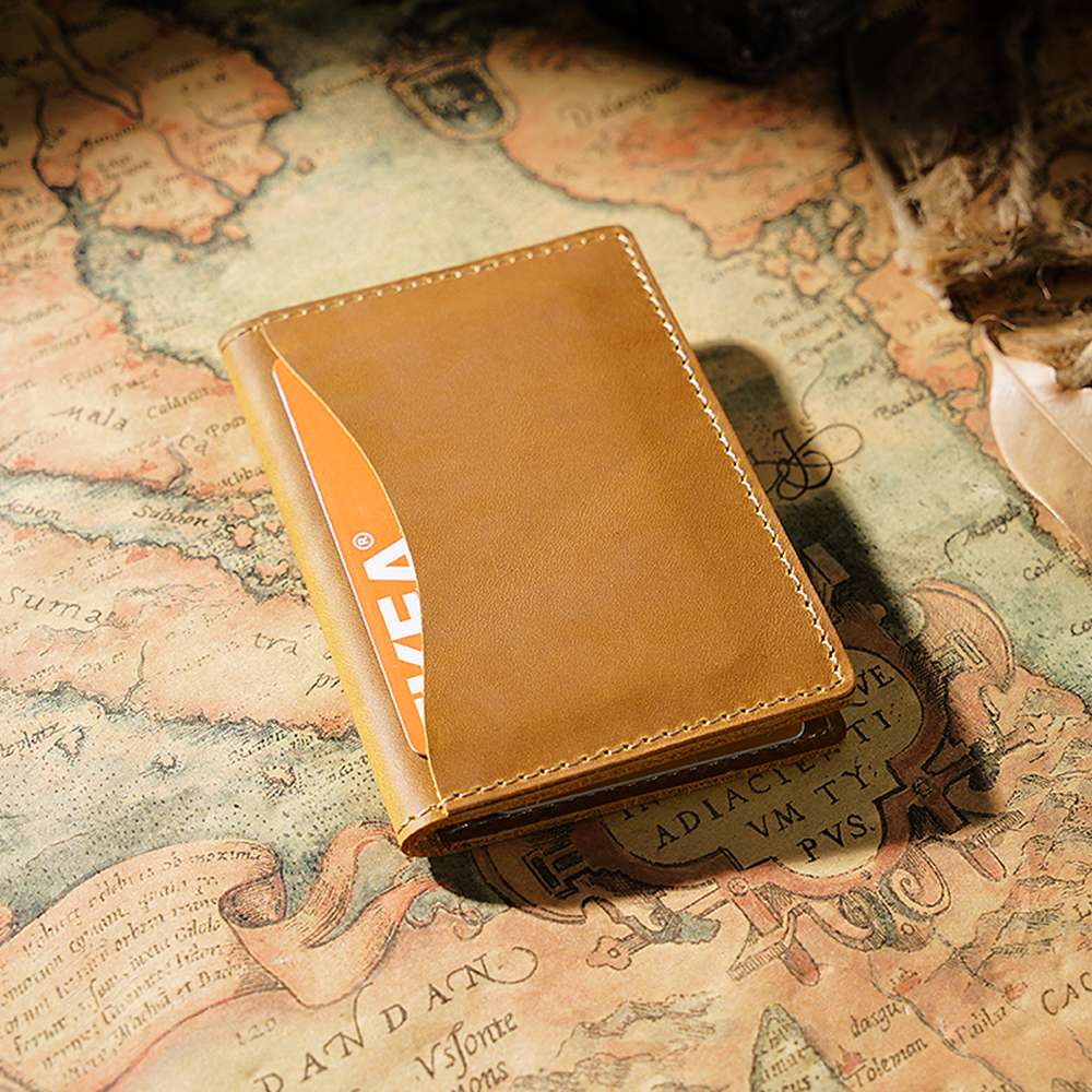 Closeout DealsíCredit-Card Wallet Id-Holders Brown Crazy-Horse-Leather Business Customized Vintage Unisex