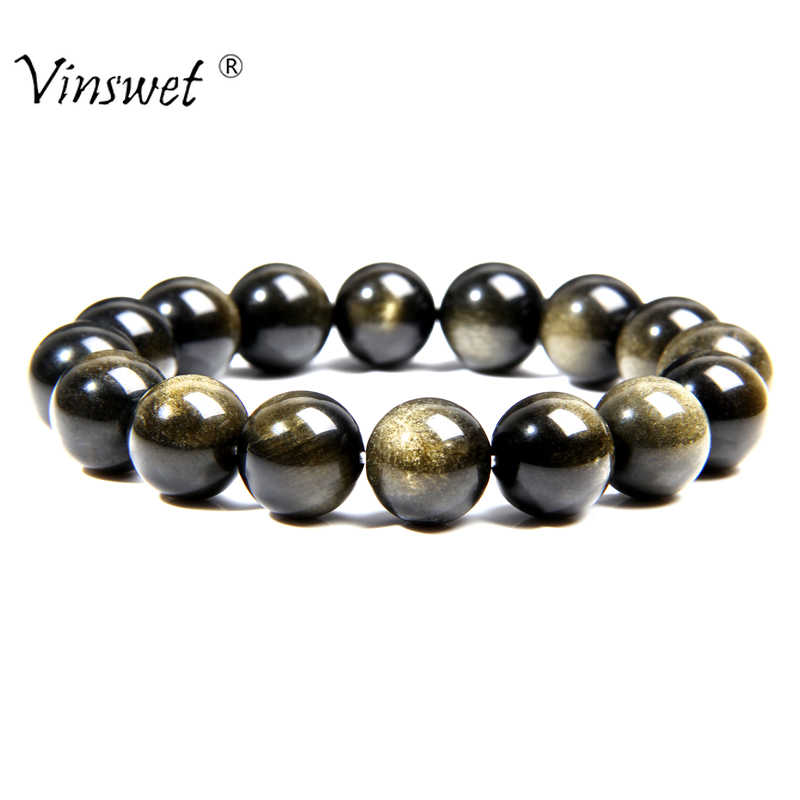Beads Bracelets Natural Stone Gold Obsidian Beaded Stretch Bracelets For Man Woman Round Classic Bracelets&Bangle Lucky Jewelry