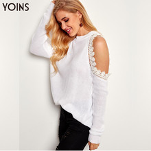 YOINS 2019 Sweater Women Autumn Winter Sexy Pullover White Pull Femme Lace Trim Plain Cold Shoulder Long Sleeve Sweaters Jumper cold shoulder flowing blouse with lace trim