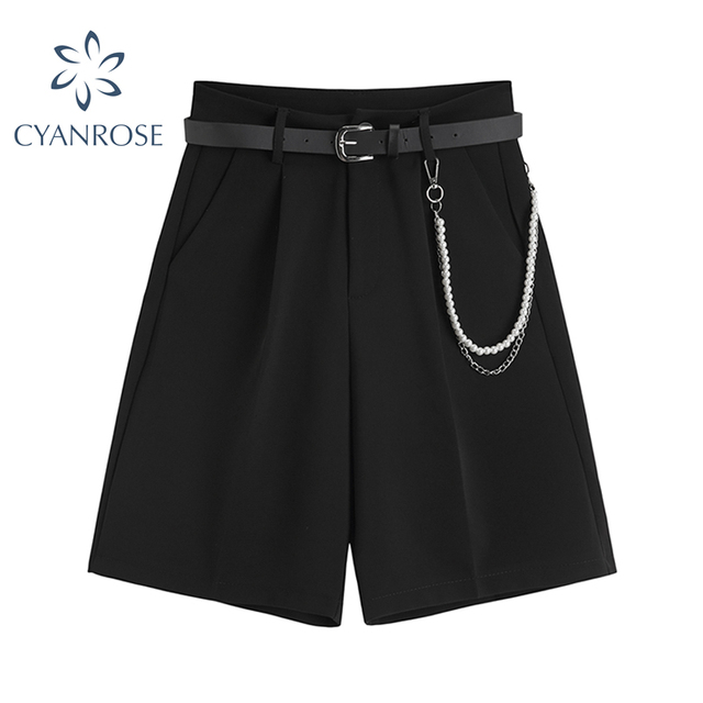 2021 Summer Suit Shorts Women Loose High Waist Fashion Casual Drop Feeling Show Solid Wide Leg Straight Shorts For Girls Soft 1