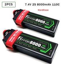 Gtfdr lipo аккумулятор 8000 мАч 74 В 110c 2s rc батарея с deans