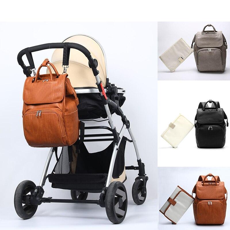2019 High-quality Nursing Care Baby PU Leather Bag Diaper Bag Designer Travel Nappy Bag Organizer Waterproof Maternity Patchwork