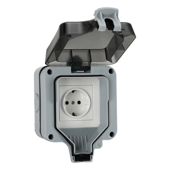 16a Single Outdoor Wall Switch Socket IP66 waterproof and dustproof power outlet EU plug Enclosure