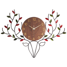Gold Luxury Nordic Wall Clock Metal Large 3d Clocks Living Room Deer Head Silent Wall Watch Horloge Home Decor Chrismas CC50WC(China)