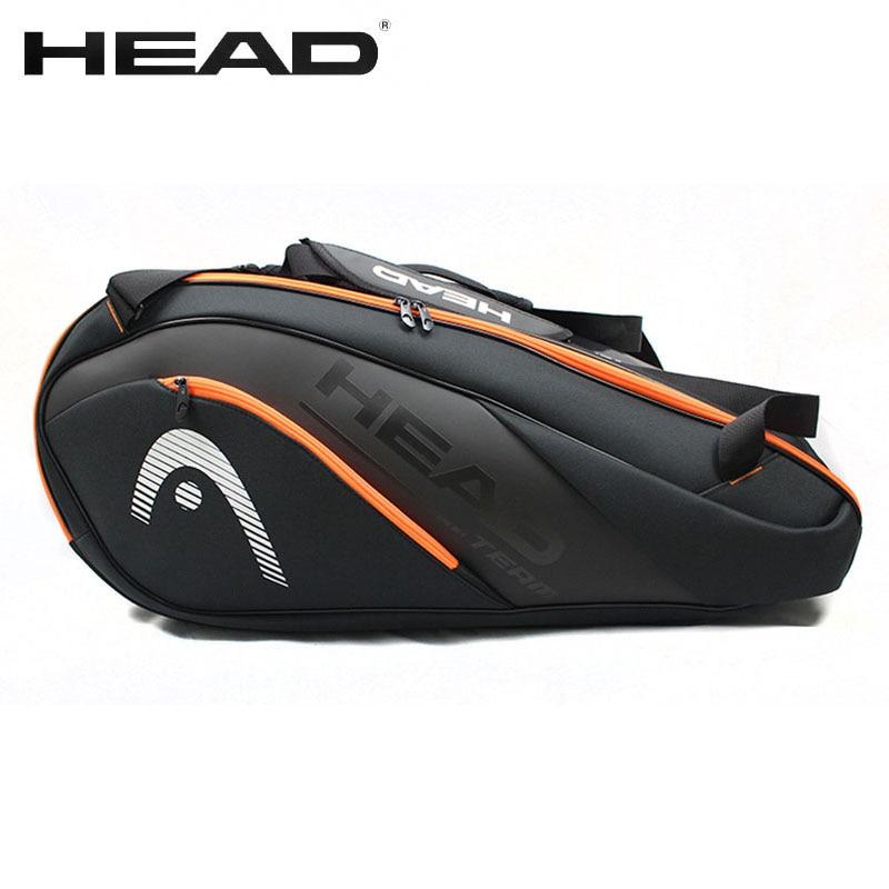 Cabeza Original directo bolsa impermeable de los deportes de 6-9 raqueta de bádminton bolso de las mujeres de los hombres profesión formación Squash Padel mochila para raqueta
